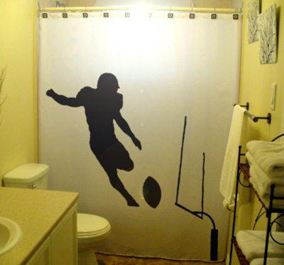 Football Shower Curtain Kids bathroom decor bath field goal kicker player rugby superbowl ball game sport - Choose 1 of 2 designs