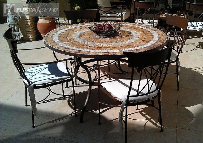 Muebles de jardin mesa de forja y mosaico modelo madrid for Muebles de jardin de hierro forjado