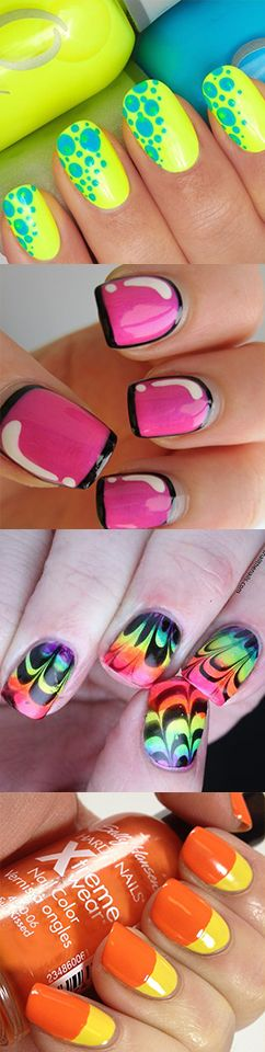 What does your nail polish tells about your personality? http://www.revasi.com/diary/mengetahui-kepribadian-lewat-warna-cat-kuku/ Neon color nail polish inspiration