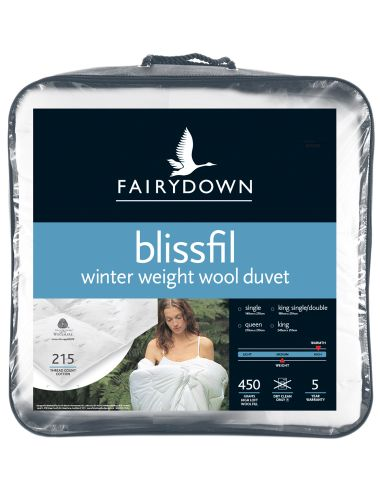 Composed of 450gsm premium high loft wool, quilted and encased in cotton, the Blissfil Winter Weight Wool duvet is ideal for cold winter nights. Plus, because wool naturally absorbs moisture away from the body, during summer you stay cool.