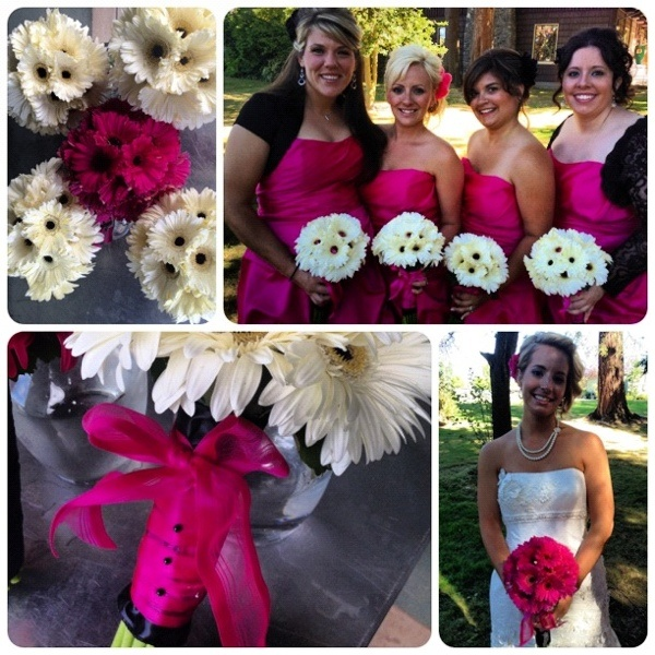 """White and hot pink gerbera daisy really  caught your eye for Danielle's wedding. I kept saying """"wow"""" as I looked across Hillcrest park during picture time."""