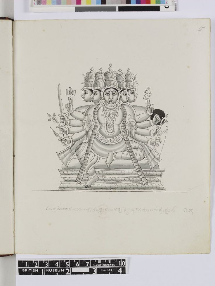 Album drawing. Pen and ink wash on paper. Śiva, five-headed and ten-armed seated upon a cushioned dais, with one leg raised, the other hanging down. His central pair of hands is held in abhaya and varada mudra. The remaining right hands hold the damaru (hourglass shaped drum), sword, pasha (noose) and arrow; in his left hands are the mriga (gazelle), buckler, pasha (noose) and bow. A crescent moon adorns the two outermost heads.