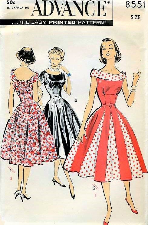 1950s BEAUTIFUL Day or Evening Cocktail Party Dress Pattern ADVANCE 8551 Pretty As A Princess Dress Godet Insets True Flattering Princess Lines Bust 34 Vintage Sewing Pattern