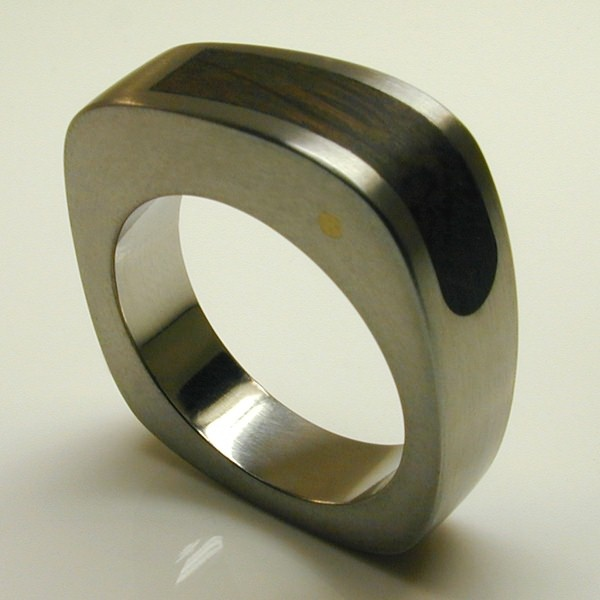 Bespoke Jump Wedding Ring Sterling Silver & Thames Wood