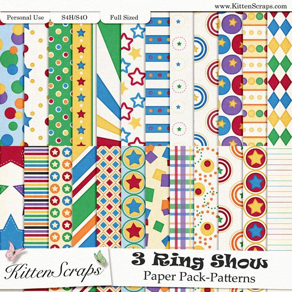 3 Ring Show Paper Pack-Patterns KittenScraps, Digital Scrapbooking