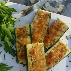 Grilled Garlic Parmesan Zucchini Recipe - Allrecipes.com. I don't think I'd spread the butter mixture on both sides, though.