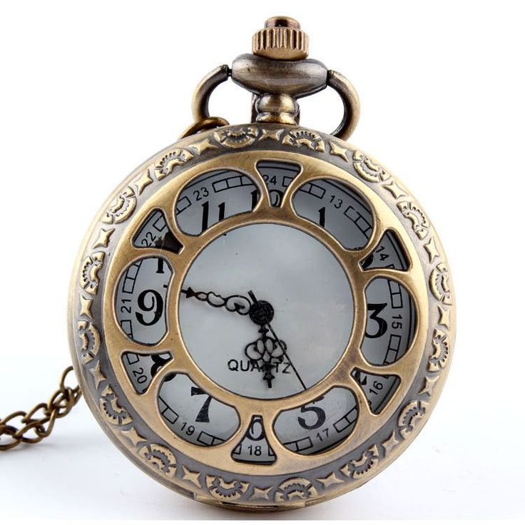 Bronze Hollow Six Petals Quartz Pocket Watch Necklace Pendant Steampunk Watch P118 relogio de bolso