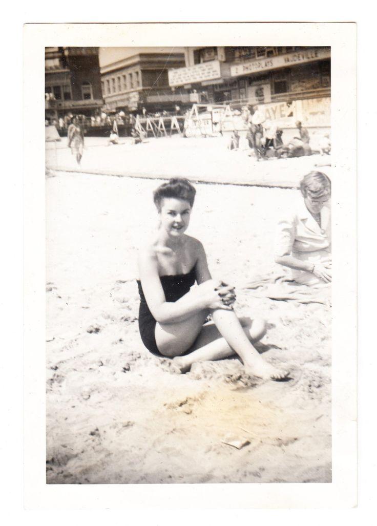 Sexy Swimsuit Teen Girl Woman vintage Photo Atlantic City NJ Beach snapshot 1940s by americathebeautiful on Etsy