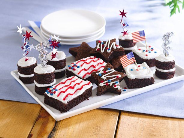 Stars and Stripes Brownies: July4Th, Blue Style, Stripes Brownies, Stars, Brownies Recipe, 4Th Of July, Fun Ideas, July 4Th, Easy Mixed Brownies