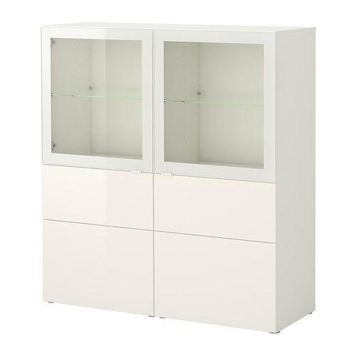 BESTÅ Storage combination w doors/drawers, white, Tofta high gloss/white clear glass white/Tofta high gloss/white clear glass 120x40x128 cm