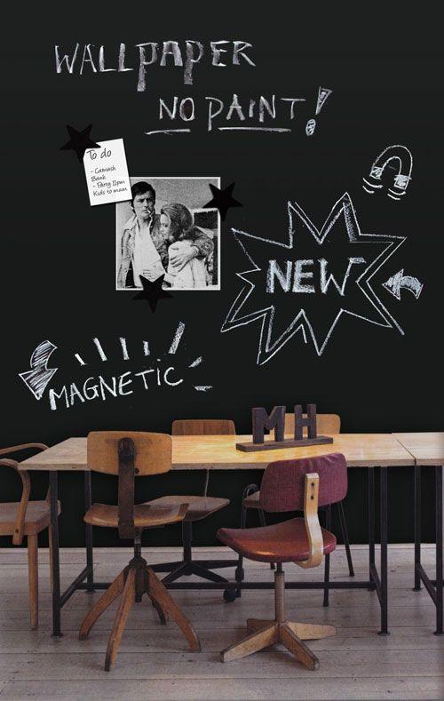 wallpaper - krijtbord magneetbehang-magneetbord-Groovy-Magnets-moodboard-foto's-krijt-muur-magnetic