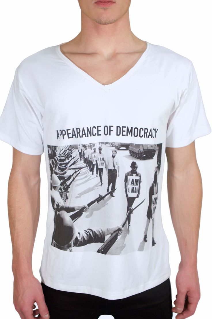 "PRICE 39,00 Eur ABIDELESS ""DEMOCRACY"" series, now available at www.abideless.com #style #fashion #abideless #tshirt #dope #menstyle"