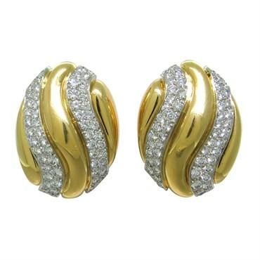 David Webb 18k gold and platinum earrings with approx. 3.00ctw diamondsg DESIGNER: David Webb MATERIAL: Platinum, 18K Gold GEMSTONE: Diamond DIMENSIONS: Earrings are 28mm x 21mm WEIGHT: 32g MARKED/TESTED: Webb,18k,Plat DIAMOND: WEIGHT approx. 3.00ctw diamonds CONDITION: Estate PRODUCT ID: 12227