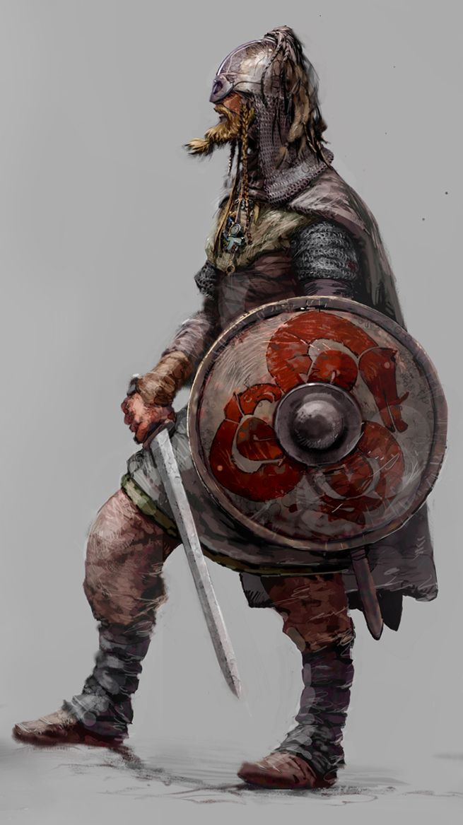 older style fantasy warrior, in chain with longsword and shield