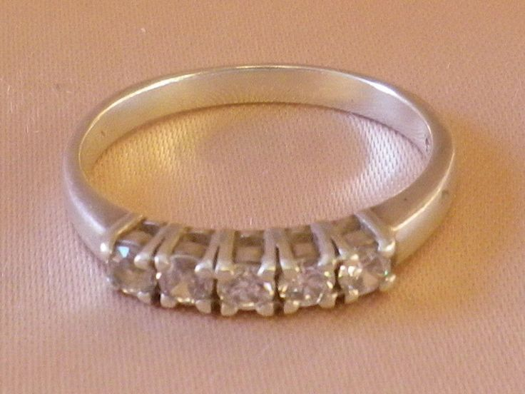 Vintage Sterling Silver Clear CZ Eternity Ring Size 10 US and U in UK & Aust. by OleSilverShoppe on Etsy