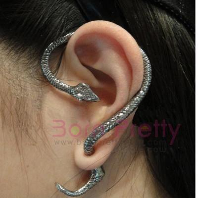 Women Alloy Retro Snake Shape Tail Adjustable Cuff Earring Bronze Color