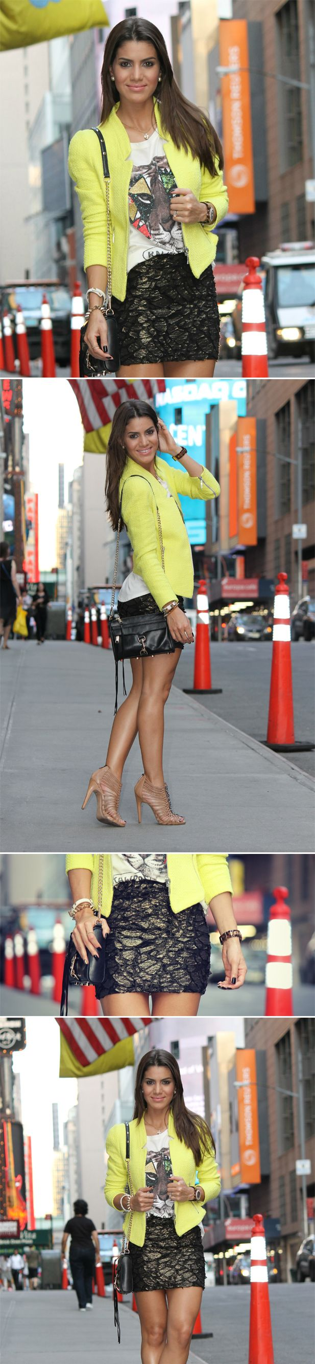 Jaqueta amarela + t-shirt + mini saia.