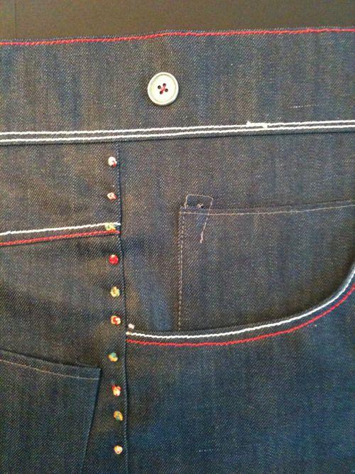 #denim details with colour stitch
