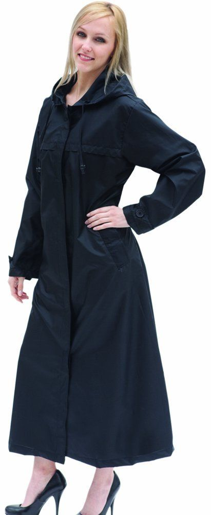 Shaynecoat Raincoat for Women Black XL ($30.00) http://www.amazon.com/exec/obidos/ASIN/B0046BH62E/hpb2-20/ASIN/B0046BH62E I washed it, but the wrinkles remained. - It is difficult to find a long raincoat and this one is perfect for travel or just keeping handy in the car. - Wear a winter coat underneath and your good to go out in any winter weather.