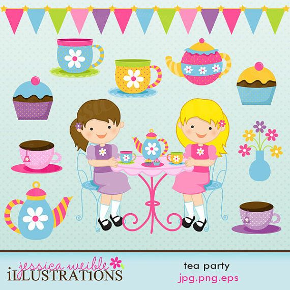 Tea Party Cute Digital Clipart for Card Design by JWIllustrations