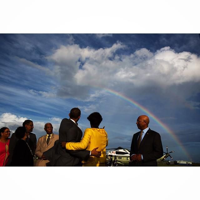 TheObamaDiary.com ‏@TheObamaDiary  President Obama & PM Portia Simpson Miller look out at rainbow before he departed Jamaica  https://instagram.com/p/1S43HINNC0/  ink