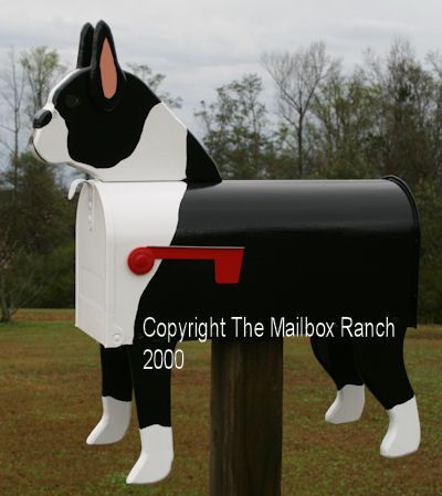 Unique Handmade Boston Terrier Dog Mailbox