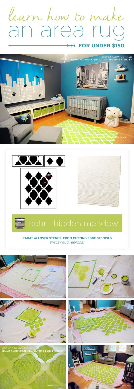 125 best boys room stencil decor images on pinterest stencil cutting edge stencils shares how to stencil a diy area rug for a nursery using the amipublicfo Choice Image
