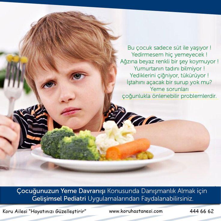 Bu çocuk sadece #süt ile yaşıyor ! Yedirmesem hiç yemeyecek ! Ağzına beyaz renkli bir şey koymuyor ! Yumurtanın tadını bilmiyor ! Yediklerini çiğniyor, tükürüyor ! İştahını açacak bir surup yok mu? Yeme sorunları çoğunlukla önlenebilir problemlerdir Çocuğunuzun yeme davranışı konusunda danışmanlık almak için hastanemiz #GelişimselPediatri uygulamalarından faydalanabilirsiniz... www.koruhastanesi.com