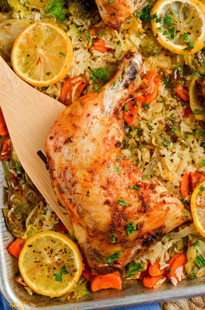 Slimming Eats Syn Free Lemon Garlic Chicken Rice Traybake - gluten free, dairy free, Slimming World and Weight Watchers friendly