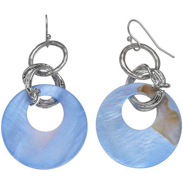 Blue Circle Nickel Free Drop Earrings (32 PEN) ❤ liked on Polyvore featuring jewelry, earrings, blue, blue earrings, earring jewelry, metal jewellery, circle jewelry and drop earrings