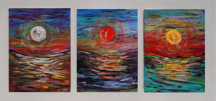 ARTFINDER: 3 Moons by DASMANG    (Gary Aitken ) - 3 separate studies of the full moon on canvas in contrasting colour #art #moon #colourful #impressionism #painting