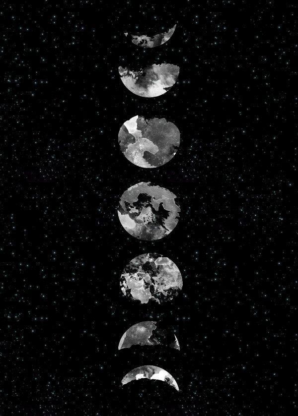 Moon Phases Poster Art Print By Rui Faria Displate Moon Phases Art Black Aesthetic Wallpaper Metal Posters