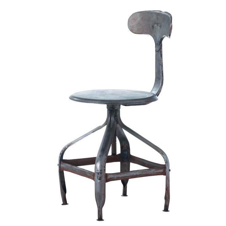 Metalen industriële stoel met verweerd effect Télégraphe