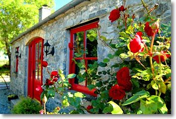 Rose Cottage, Terryglass, County Tipperary, Central Ireland.  The red is gorgeous!