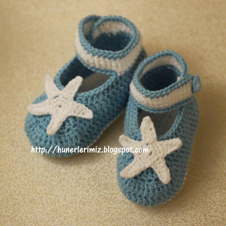 Crochet Baby Booties Pattern (4-8 months) - Tutorial •✿• Teresa Restegui http://www.pinterest.com/teretegui/ •✿•