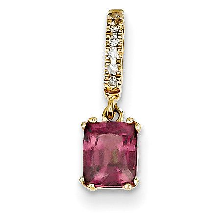 14k Diamond and Rhodolite Garnet Pendant XP4061RG/AA