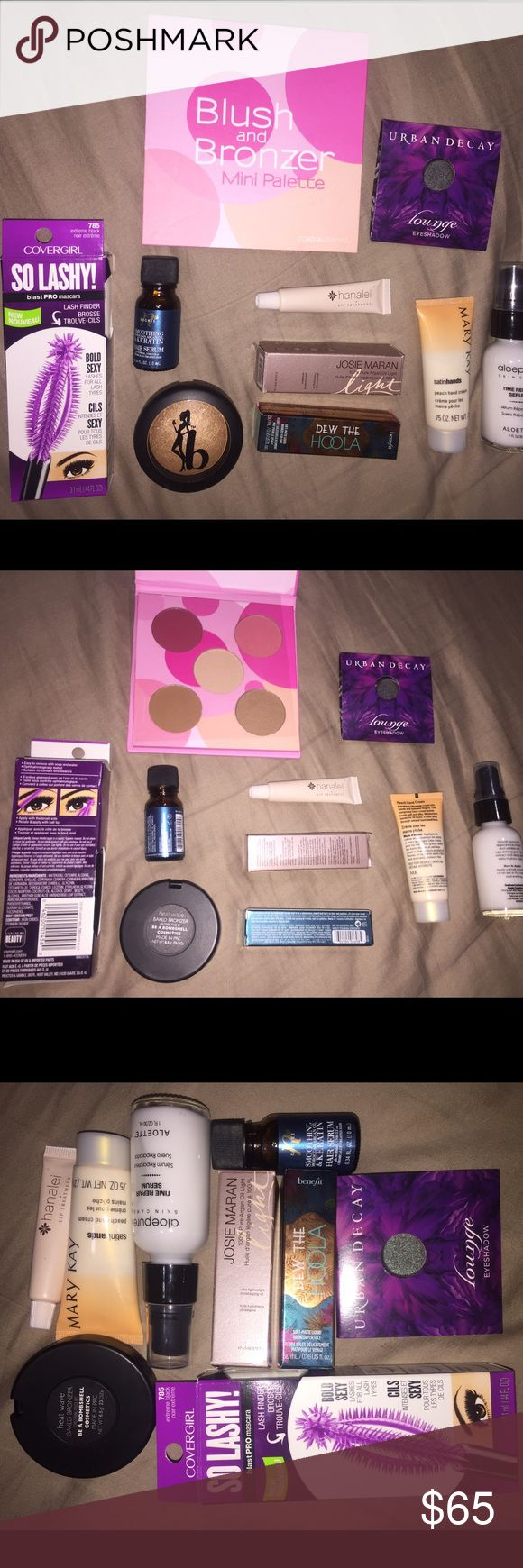 💕 SUNDAY SALE 💕 HUGE Makeup Bundle - blush and bronzer mini palette by coastal scents - covergirl so lashy blast pro mascara in extreme black 13.1mL (13.1 mL) - urban decay lounge eyeshadow - be a bombshell cosmetics baked bronzer in heat wave - benefit dew the hoola soft matte liquid bronzer for face (5.0mL) - Josie Maran 100% pure argan oil light moisturizing oil (4.5mL) - Mary Kay satin hands peach hand cream (.75 oz) - aloepure skin care time repair serum (1 oz) - Nth degree smoothing…
