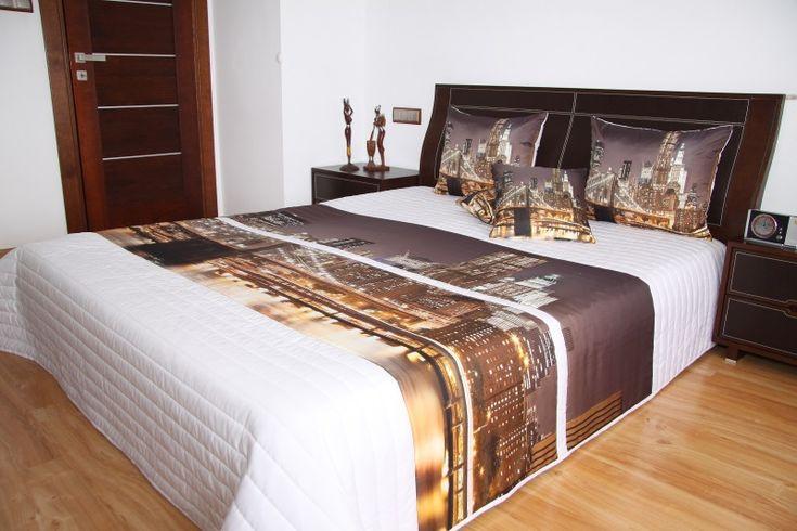 Narzuty na łóżko do sypialni w kolorze białym z motywem wielkiego miasta
