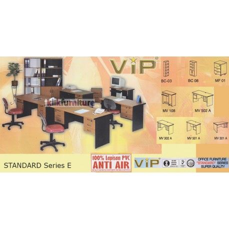 Set Office Standard Series E VIP Condition:  New product  Terdiri dari (masing-masing 1 set)  BC 03, BC 02, BC 05, MV 602 A, MU 02, LEGS 01 100% lapisan PVC Anti air, bukan kertas foil biasa  tidak termasuk kursi kantor dan aksesoris lainnya yang digambar  bisa dicustom item terpisah