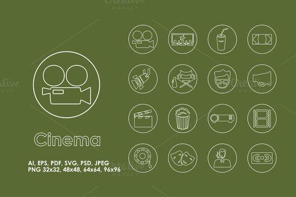 16 Cinema icons by Palau on Creative Market