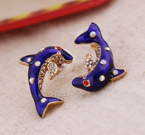 Asymmetrical Rhinestone Elegant Blue Dolphin Earrings