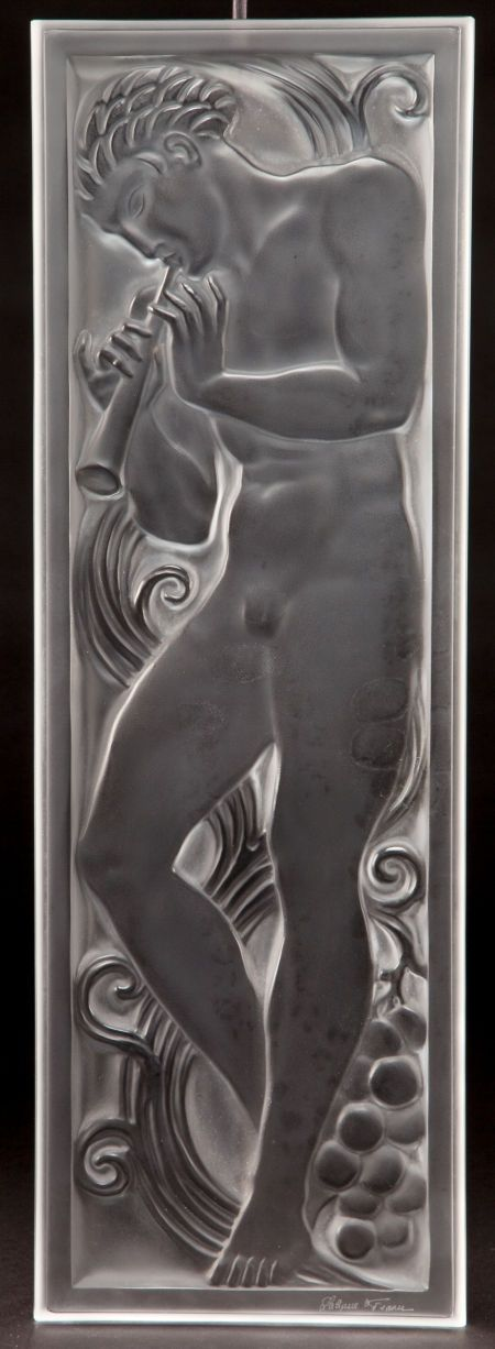 LALIQUE CLEAR AND FROSTED GLASS JOUEUR DE PIPEAU ARCHITECTURAL PANEL  Post 1945  Engraved: Lalique, France