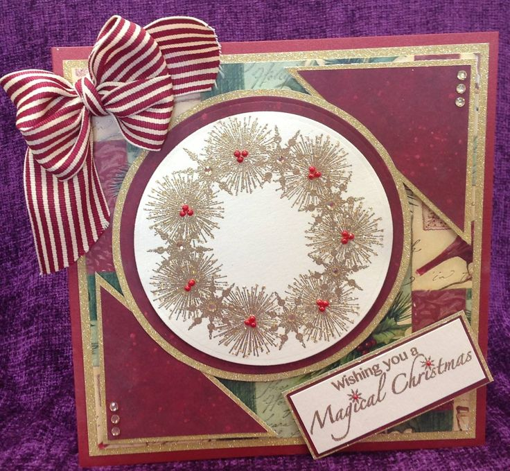 Card made by Chloe using  Stamps by Chloe Starburst Wreath Stamps by Chloe Magical Christmas: Christmas Cards, Chloe Cards, Chloe Stamps, Cards Ideas, Endean Cards, Christmas Wint, Wreaths Stamps, Christmas Ideas, Xmas Cards