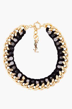 Yves Saint Laurent Black And Gold Velvette Chain Necklace for Women
