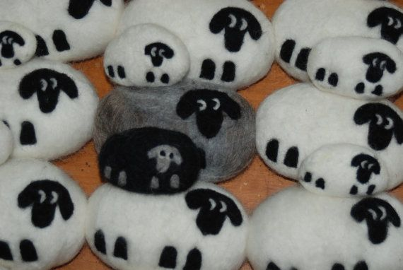 Felted Soap Black Sheep Gray and Black Mom and Lamb Set, Christmas Gift, Stocking Stuffer **I am making these bars to order at this time, so please allow a few days to make them before shipping** **The soap we use is made of the purest ingredients and essential oils that produce wonderful lather** We only use soap that lathers GREAT! A matching set! Silver gray mom and coal black baby, a mother sheep with lamb. Very cute! Perfect for a spring gift or to fill a gift basket. If you have not...