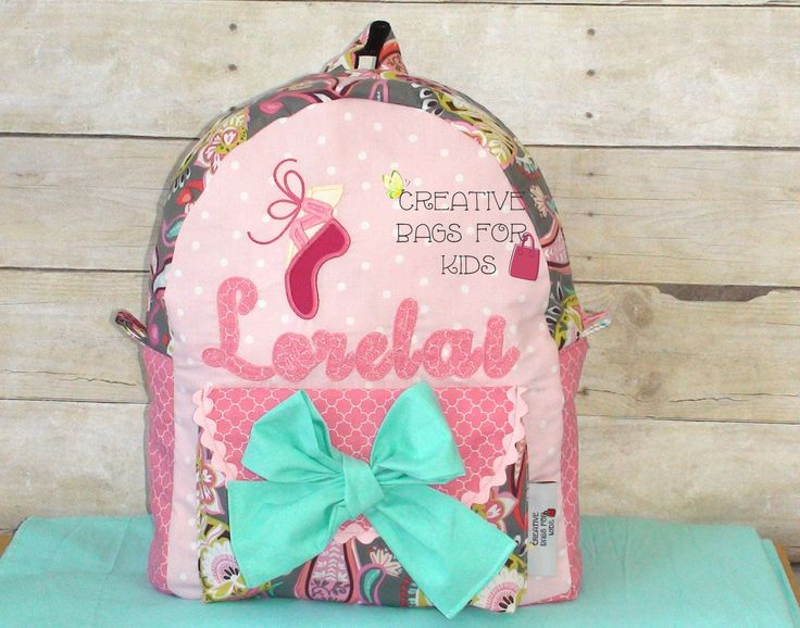 Kids Backpack, Childrens Backpack, Toddler Backpack, Personalized Backpack/ Kindergarten backpack/ Ballet shoe backpack by CreativeBagsForKids on Etsy