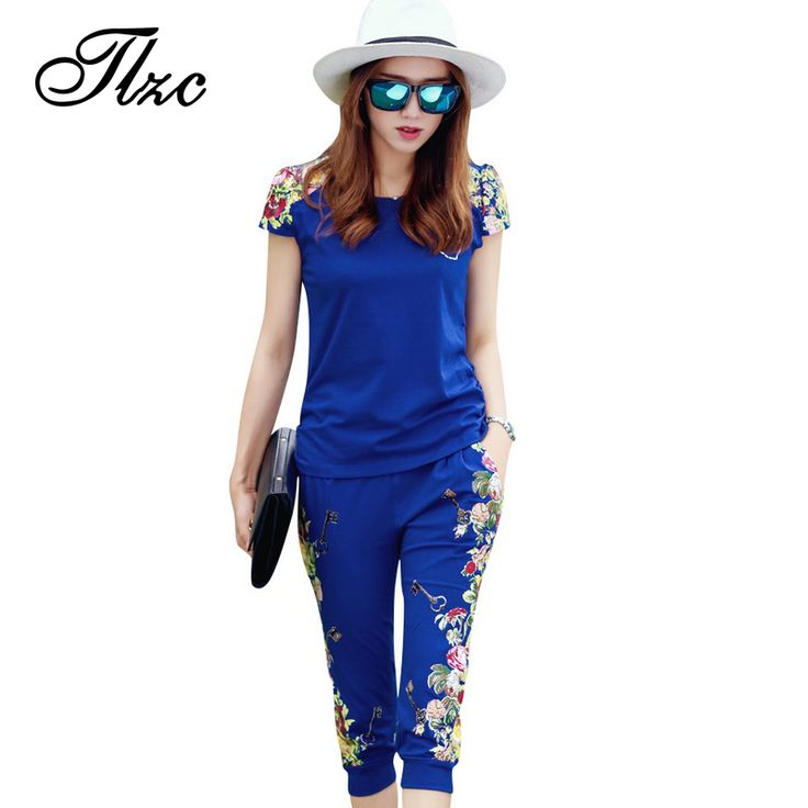 TLZC Fashion Flowers Printed Women Tracksuit Casual T-shirts + Pants Lady Clothing Suit Size L-4XL China Style Summer Lady Sets