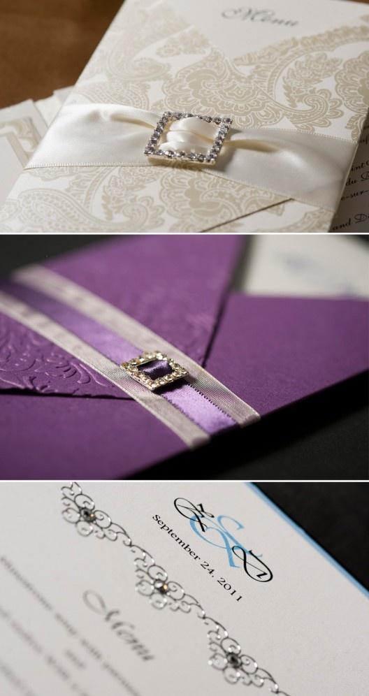 purple white silver wedding invitations%0A Invitations