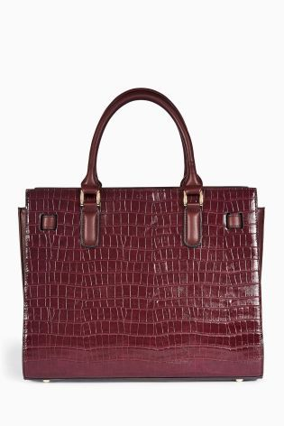 Buy Berry Crocodile Effect Structured Tote Bag from the Next UK online shop
