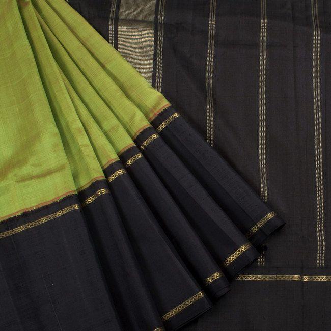 Sri Sagunthalai Silks Wasabi Green Handwoven Korvai Kanchipuram Silk Saree 10002717 - profile - AVISHYA.COM